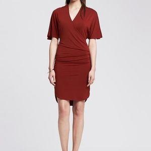 NWT Banana Republic Shirred Faux-Wrap Jersey Dress